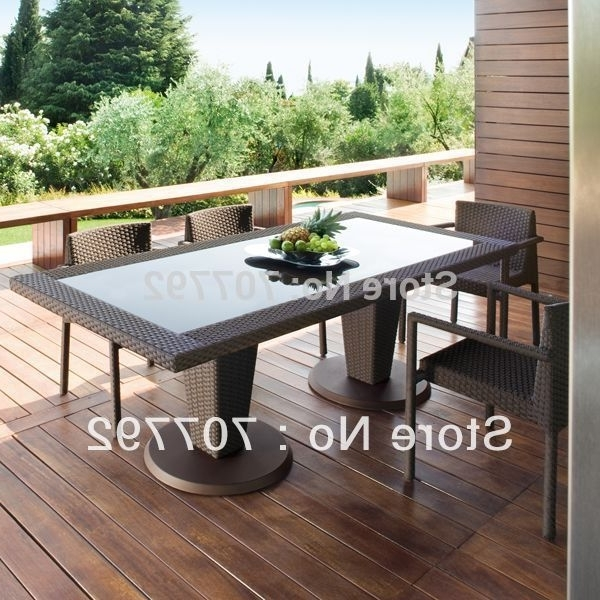 Garden Dining Tables In Trendy All Weather Outdoor Pe Rattan Dining Table And Chairs In Garden (View 19 of 20)