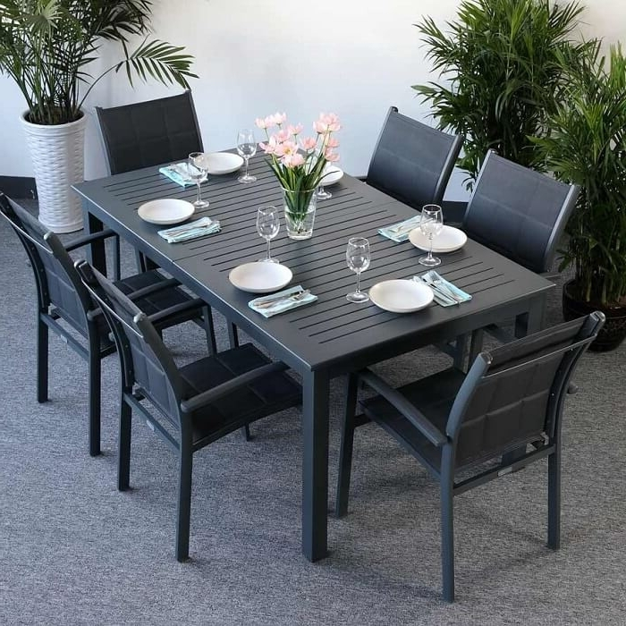 Garden Dining Tables Within Popular Garden Table Set Virginia Grey – 6 Person Aluminium & Glass (Gallery 3 of 20)