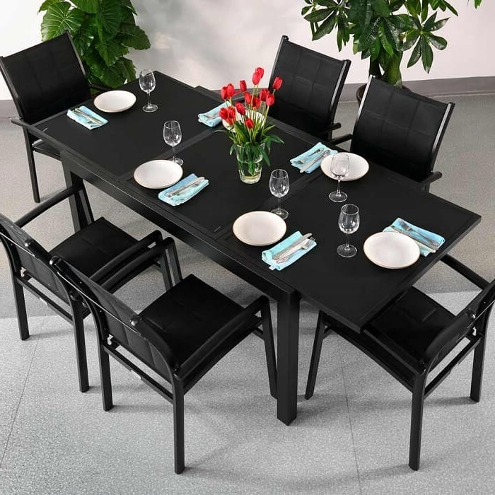 Garden Table Set Daisy Black – 6 Person Aluminium & Glass Patio In Most Up To Date 6 Seater Glass Dining Table Sets (View 12 of 20)