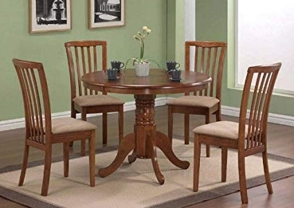 Gavin 7 Piece Dining Sets With Clint Side Chairs With Most Up To Date Amazon – 5Pc Pedestal Dining Table & Chairs Set Dark Oak Finish (View 7 of 20)