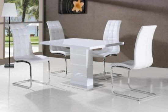 Giatalia Ice White Gloss Dining Table With 4 Enzo White Faux Leather Within Widely Used White Gloss Dining Chairs (Gallery 3 of 20)