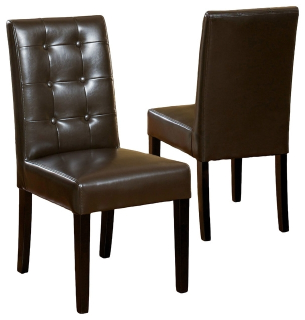 Gillian Leather Dining Chair, Set Of 2 – Transitional – Dining Pertaining To Well Liked Brown Leather Dining Chairs (View 8 of 20)