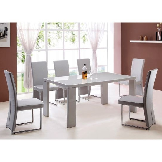 Giovanni High Gloss Grey Dining Table And 4 Light Grey Chairs (Gallery 10 of 20)