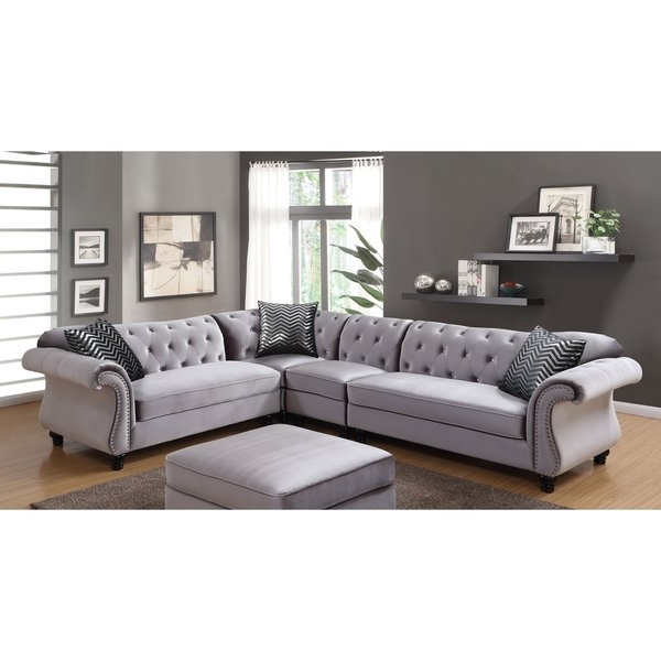 Glamour Ii 3 Piece Sectionals With Regard To Favorite Shop Furniture Of America Dessie Iii Traditional Glam Tufted (View 5 of 15)