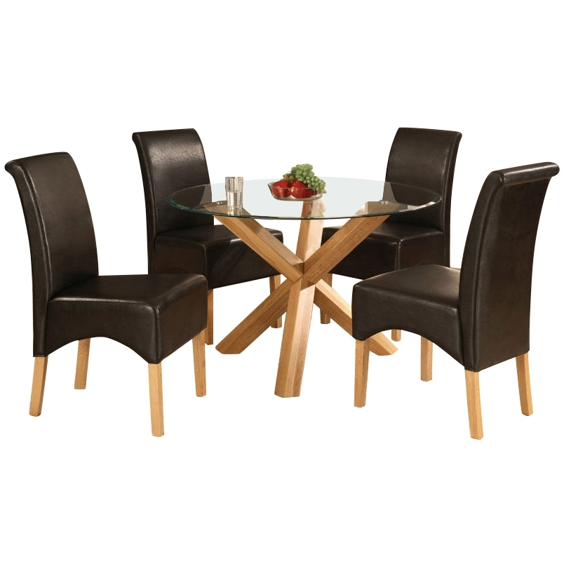 Glass And Oak Dining Tables And Chairs Pertaining To Famous Solid Oak Glass Round Dining Table And 4 Leather Chair, Round Table (View 10 of 20)