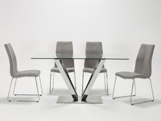 Glass And Stainless Steel Dining Tables Regarding Well Known Evoque Tempered Glass Stainless Steel Dining Table With 6 Evoque (Gallery 9 of 20)
