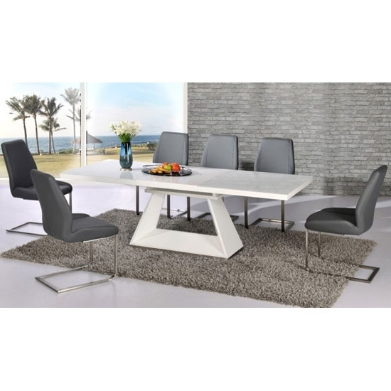 Glass And White Gloss Dining Tables Pertaining To Most Up To Date Amsterdam Extending Glass And White Gloss Dining Table Set (View 12 of 20)