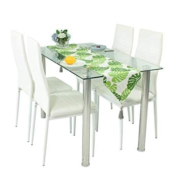 Glass Dining Table Set And 4 White Faux Leather Thick Foam Ribbed Within Most Recently Released Glass Dining Tables And Chairs (View 10 of 20)