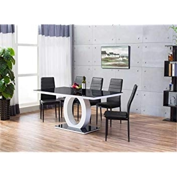 Glass Dining Tables And 6 Chairs Within Fashionable Furnitureboxuk® Giovani Black/white High Gloss Glass Dining Table (Gallery 7 of 20)