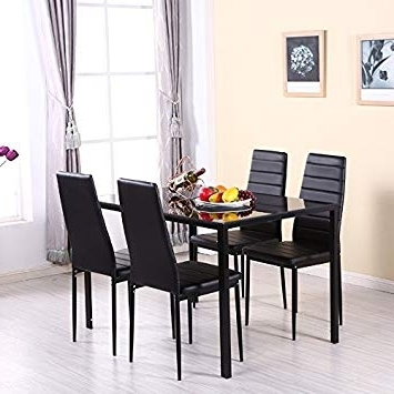 Glass Dining Tables And Chairs Within 2018 Warmiehomy Dining Table Chairs, Glass Dining Table Set And 4 Faux (View 14 of 20)