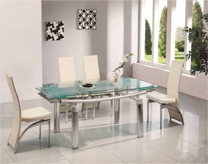 Glass Dining Tables Sets Within Well Known Dining: Stylish Glass Dining Table Sets 6 Chairs Your Home Idea (View 8 of 20)