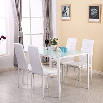 Glass Dining Tables White Chairs Intended For Most Popular Warmiehomy Dining Table Chairs, Stunning Glass Dining Table Set (View 16 of 20)