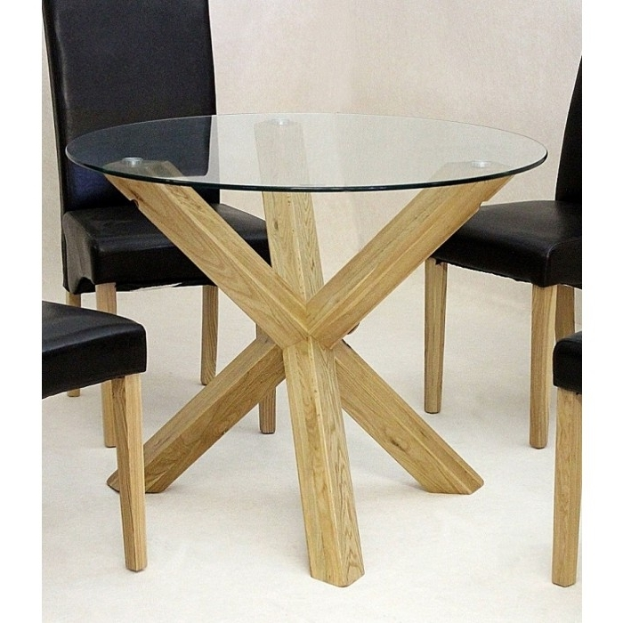 Glass Dining Tables With Oak Legs For Latest Chinon Round 95Cm Mini Glass Dining Table – Azura Home Style (Gallery 3 of 20)
