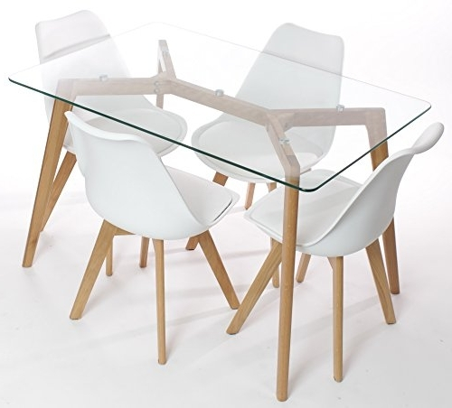 Glass Dining Tables With Oak Legs Throughout Recent Charles Jacobs Dining Table And Chairs Set – Solid Oak And Glass (View 12 of 20)