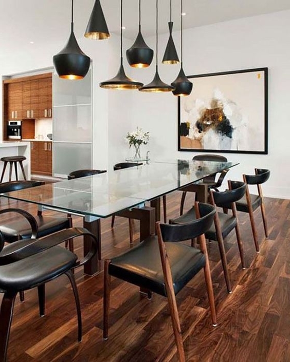 Glass Dining Tables With Wooden Legs Pertaining To Latest 30 Ways To Incorporate A Glass Dining Table Into Your Interior (View 6 of 20)