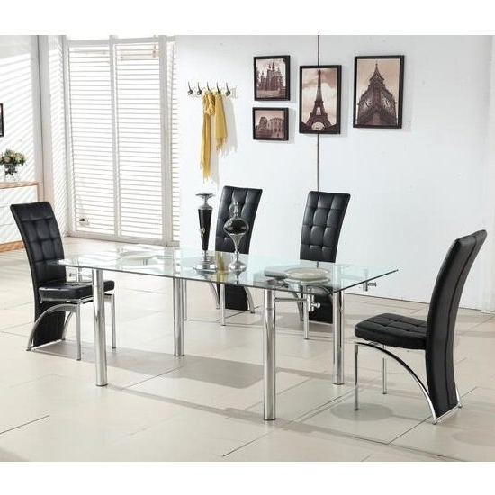 Glass Extendable Dining Tables And 6 Chairs Within 2018 Alicia Extending Glass Dining Table With 6 Ravenna Black (View 9 of 20)