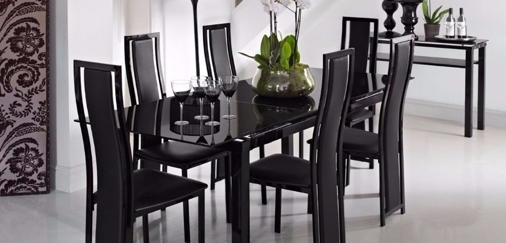Glass Extendable Dining Tables And 6 Chairs Within Recent Extending Black Glass Dining Table And 6 Chairs ( Noir Range From (View 8 of 20)
