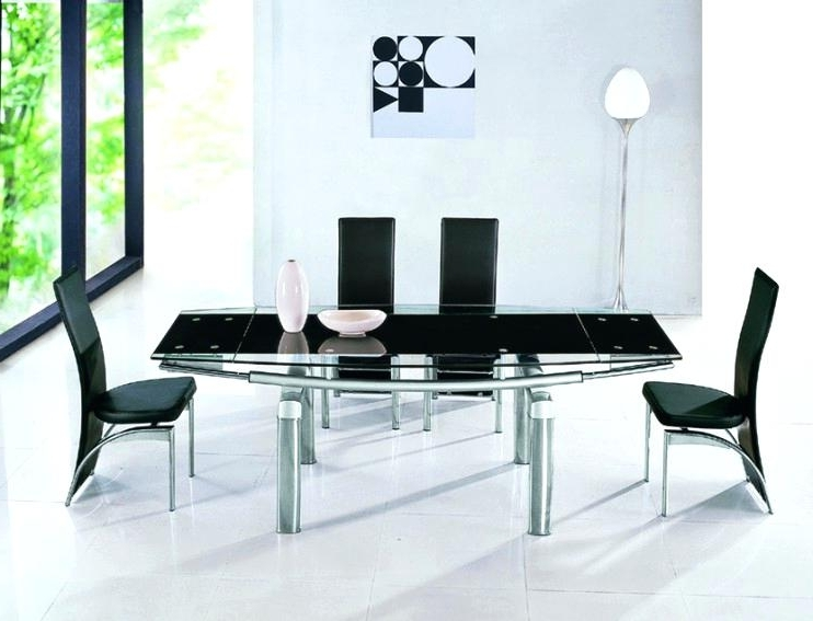 Glass Extending Dining Table Black Glass Extendable Dining Table Within Well Liked Black Extending Dining Tables (Gallery 19 of 20)