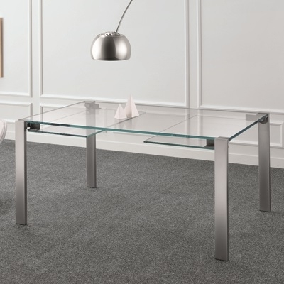 Glass Extending Dining Tables Intended For Recent Livingstone 160Cm Extraclear Glass Extending Dining Table (Gallery 7 of 20)