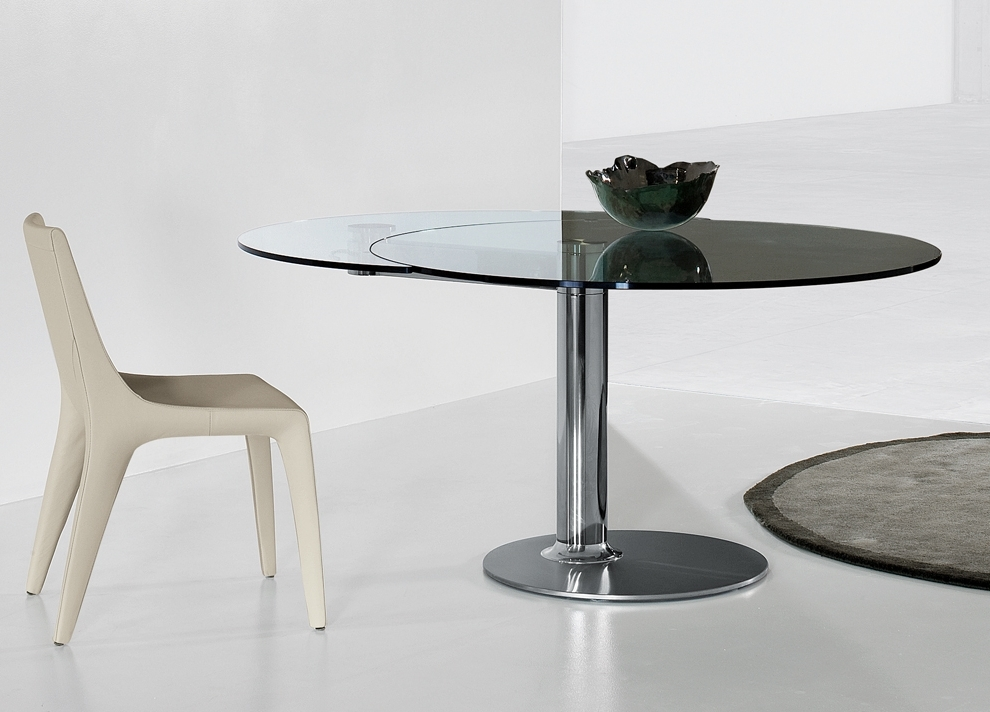 Glass Round Extending Dining Tables Within Best And Newest Bonaldo Plinto Round Extending Table (View 11 of 20)