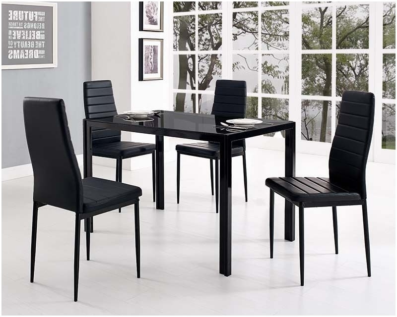 Glass Top Kitchen Table And Chairs Black Glass Dining Table And With Intended For 2017 Glass Dining Tables And Leather Chairs (View 7 of 20)