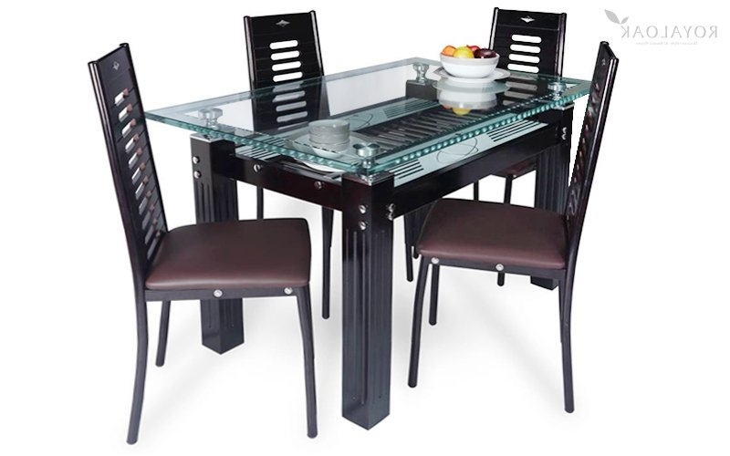 Glass Top Oak Dining Tables With Regard To Latest Buy Royaloak County 4 Seater Dining Set With Tempered Glass Top And (Gallery 17 of 20)