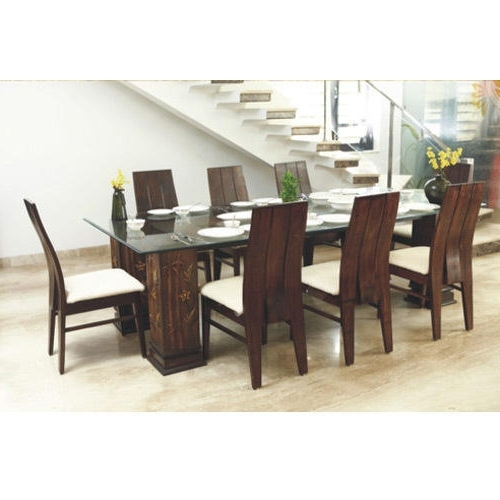 Glass Top Wooden Dining Table At Rs 60000 /set (View 7 of 20)