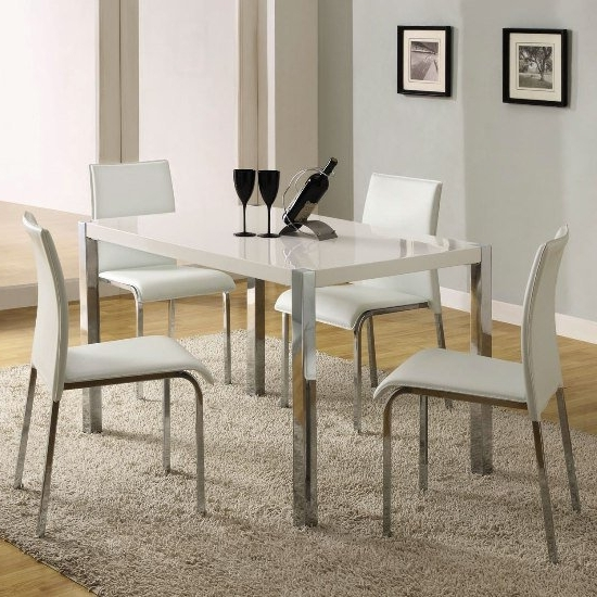 Gloss White Dining Tables And Chairs For Favorite Stefan High Gloss White Dining Table And 4 Chairs (View 16 of 20)