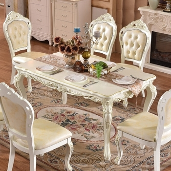 Gold Painted Hand Carving Baroque Royal Dining Table Set In White Throughout Most Current Royal Dining Tables (View 5 of 20)