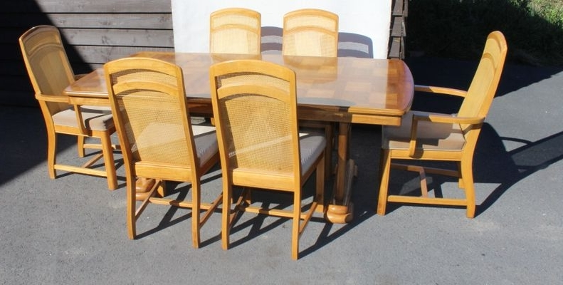 Golden Oak Parquet Extendable Table With 6 Dining Chairs, 1960S For Pertaining To Most Current Parquet 6 Piece Dining Sets (Gallery 3 of 20)