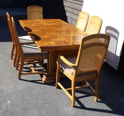 Golden Oak Parquet Extendable Table With 6 Dining Chairs, 1960S For Pertaining To Recent Parquet 6 Piece Dining Sets (View 5 of 20)