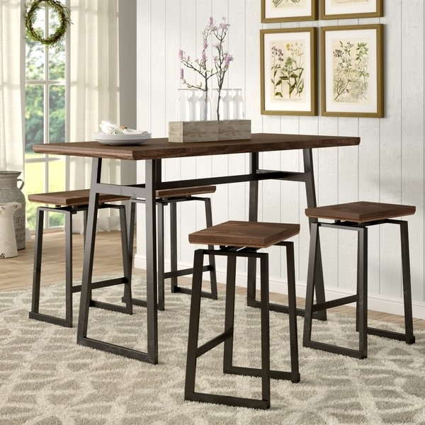 Gracie Oaks Platane Industrial 5 Piece Counter Height Dining Set Regarding Well Liked Jaxon 5 Piece Extension Counter Sets With Wood Stools (Gallery 4 of 20)