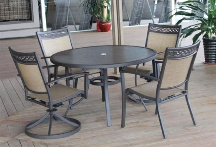 Grady 5 Piece Round Dining Sets Within Famous Carmadelia Outdoor 5 Piece Round Dining Set In Tan/brown (Gallery 10 of 20)