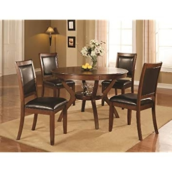 Grady Round Dining Tables Within 2018 Amazon – Homelegance Shankmen Round 5 Piece Dining Set, Espresso (View 8 of 20)