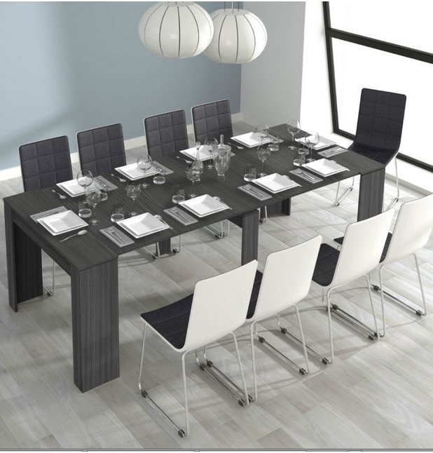 Grande 5 Position Extending Ash Grey Soft Gloss Dining Table Regarding Most Recent Gloss Dining Tables (View 9 of 20)