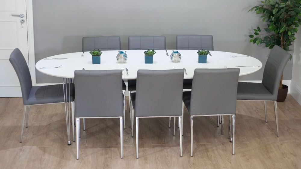 Gray Dining Chairs Regarding White Oval Extending Dining Tables (View 6 of 20)
