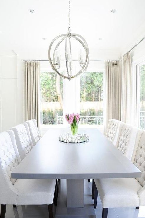 Gray Pedestal Dining Table With White Tufted Dining Chairs Throughout Most Up To Date Cream Lacquer Dining Tables (View 11 of 20)