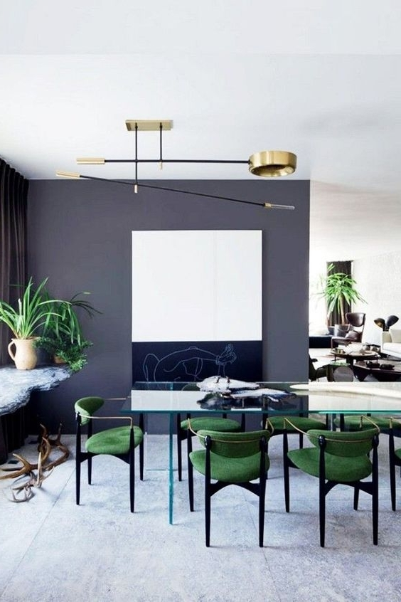 Green Dining Tables With Regard To Current 30 Ways To Incorporate A Glass Dining Table Into Your Interior (View 10 of 20)
