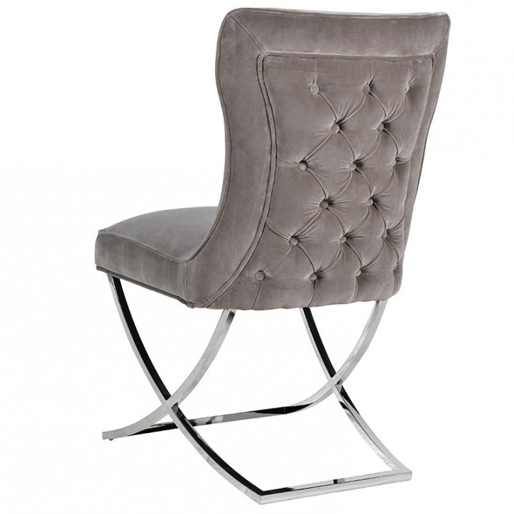 Grey Dining Chairs With Widely Used Button Back Velvet Dining Chair (View 18 of 20)