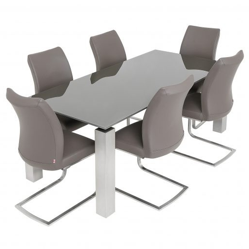 Grey Glass Dining Table & 6 Pada Chairs Intended For Well Liked Grey Glass Dining Tables (Gallery 8 of 20)