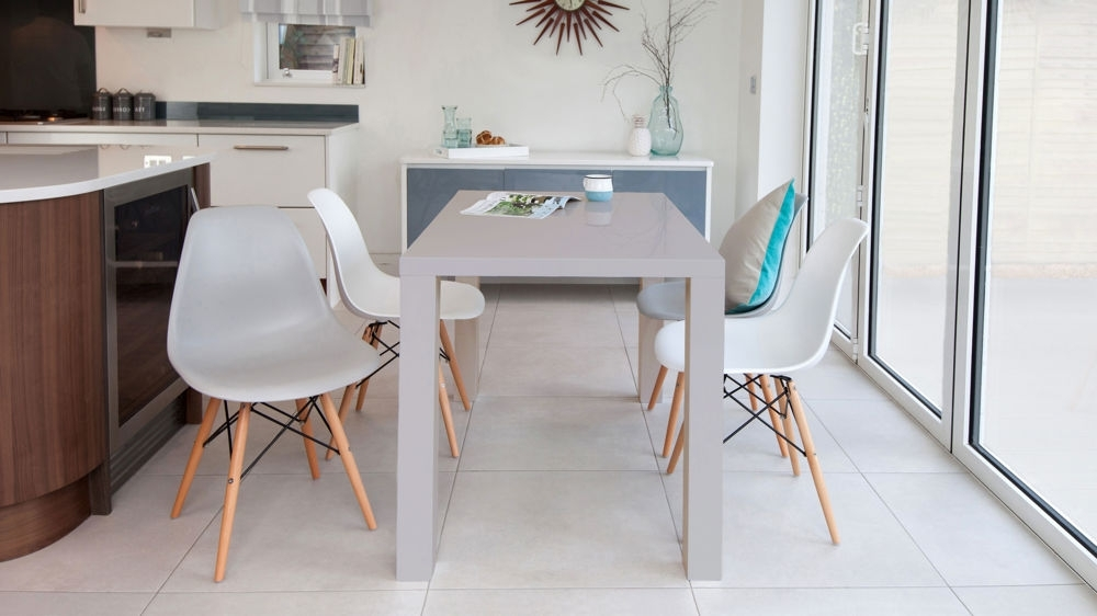Grey Gloss Dining Tables Pertaining To Popular Grey Gloss 4 Seater And Eames Style Dining Set (View 5 of 20)