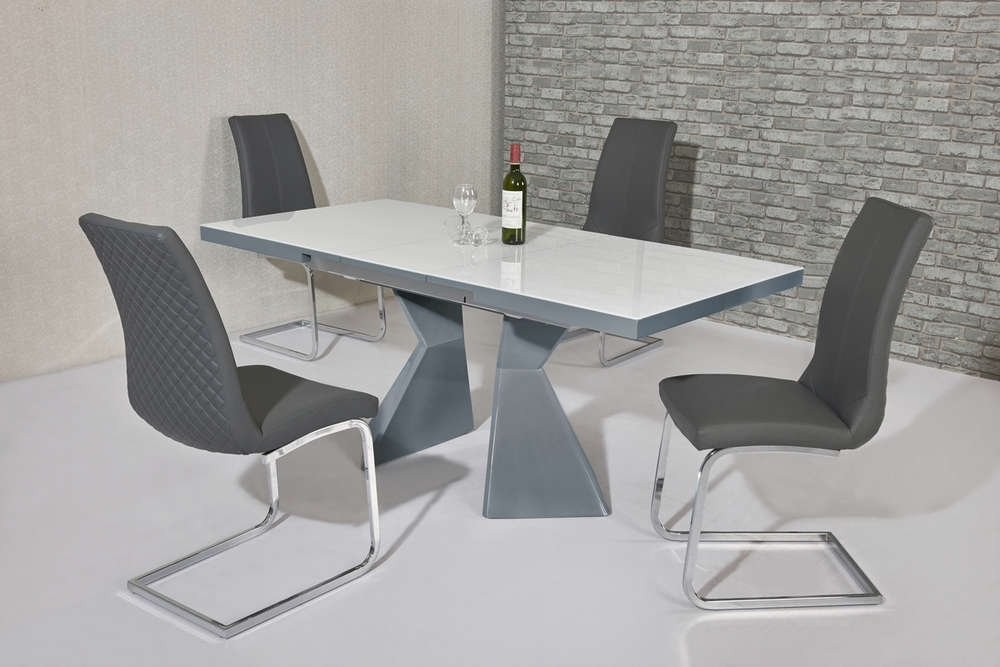 Grey Gloss Dining Tables Pertaining To Well Known White Glass Grey Gloss Dining Table & 4 Grey Chairs – Homegenies (Gallery 12 of 20)