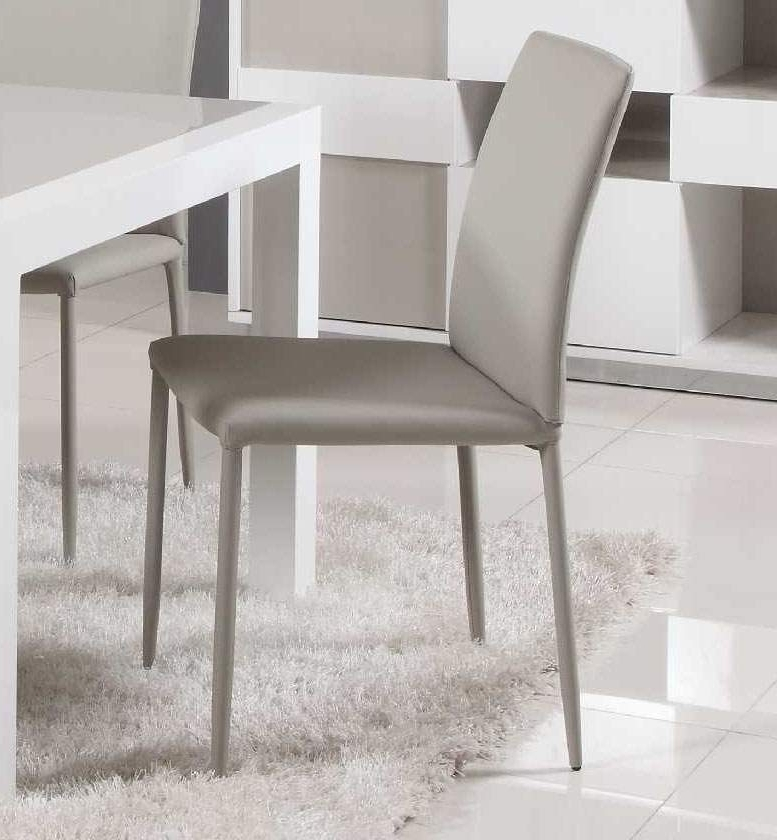 Grey Leather Dining Chairs Intended For Most Popular Contemporary Simple Italian Design Leather Dining Chair In Grey (Gallery 16 of 20)