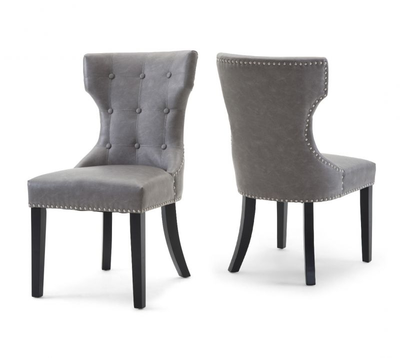 Grey Leather Dining Chairs Within Most Popular Torelli Alisa Leather Dining Chair Grey (View 9 of 20)