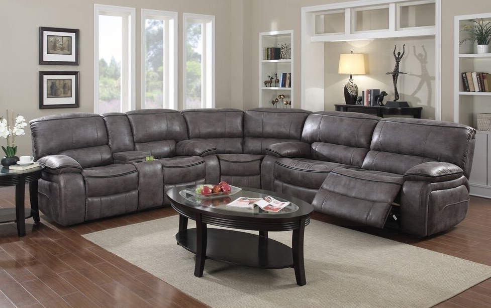 Grey Leather Reclining Sectional Clyde 3 Piece Power W Pwr Hdrst With Regard To Current Clyde Grey Leather 3 Piece Power Reclining Sectionals With Pwr Hdrst & Usb (Gallery 2 of 15)