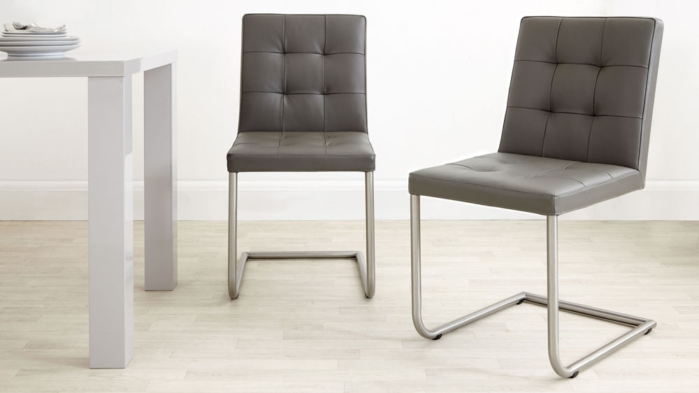 Grey, White And Black Uk With Regard To Real Leather Dining Chairs (View 4 of 20)