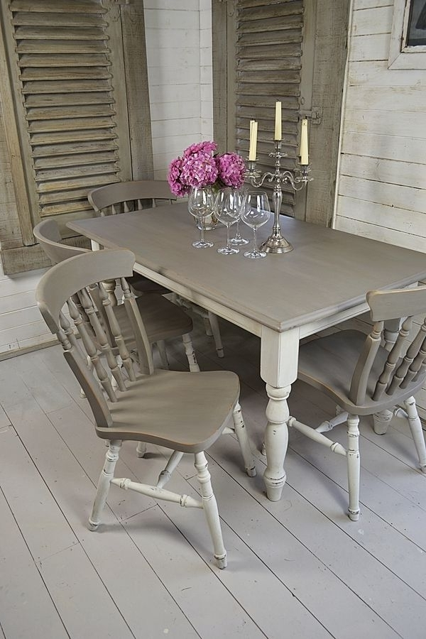 Grey & White Shabby Chic Dining Table With 4 Chairs Artwork (View 5 of 20)