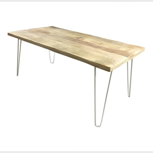 Hairpin Leg Dining Table In Timber With White Legs With Regard To Best And Newest Dining Tables With White Legs (View 16 of 20)