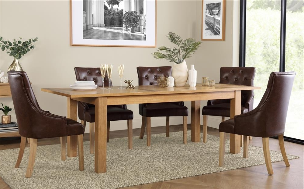 Hamilton 180 230Cm Oak Extending Dining Table With 6 Duke Club Brown With Regard To Well Known Hamilton Dining Tables (View 6 of 20)