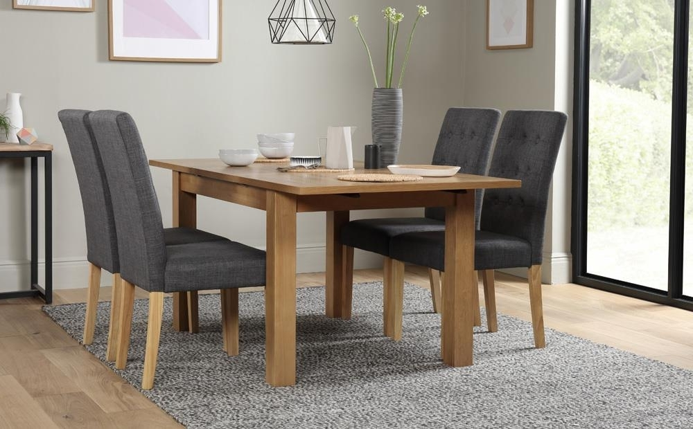 Hamilton Dining Tables Within 2018 Hamilton 120 170Cm Oak Extending Dining Table With 4 Regent Slate (View 10 of 20)